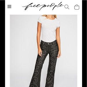 Free People studded leather flare pants